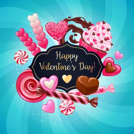 Valentinstag Süßigkeiten und Süßigkeiten Poster. Bunter Hintergrund mit Süßigkeiten - Lutscher, Cupcake, Cake Pops, Schokoladenspritzer, Pfefferminzkaramell auf Glanzhintergrund.