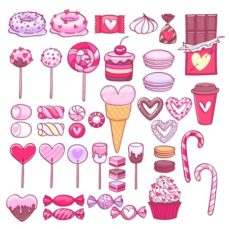 Valentine's day sweets set - marshmallow, hard candy, cake pop, donuts, peppermint candy, chocolate, cookies, cupcakes vector illustration