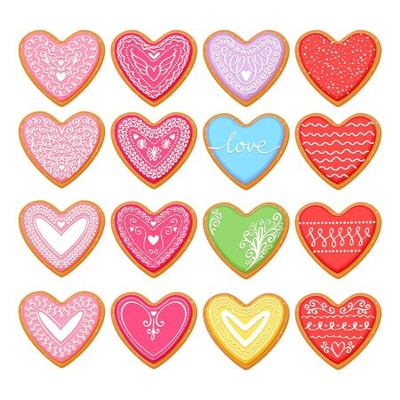 Valentines day heart shaped decorated cookies set vector illustration.