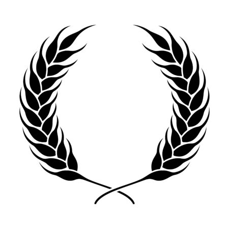 Wheat or rye ears wreath. Farm or bakery symbol vector illustration.