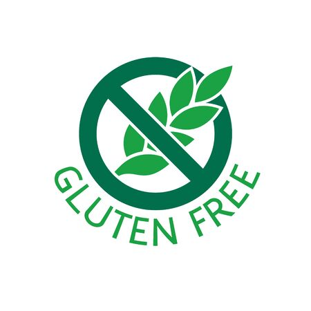 Gluten free food badge with stop sign anf ear. Label for packaging design.