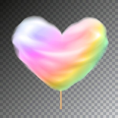 Rainbow colored heart shape cotton candy on stick vector with transparency.
