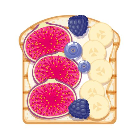 Sweet open sandwich with banana, blueberry, blackberry and fig slices.