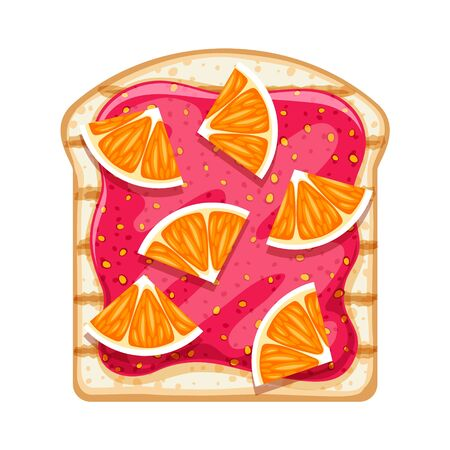 Open sandwich with sweet strawberry jam and orange slices.