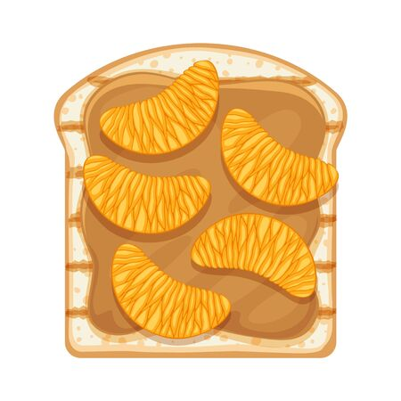 Sweet open sandwich with peanut butter and tangerine slices. Archivio Fotografico - 142148723