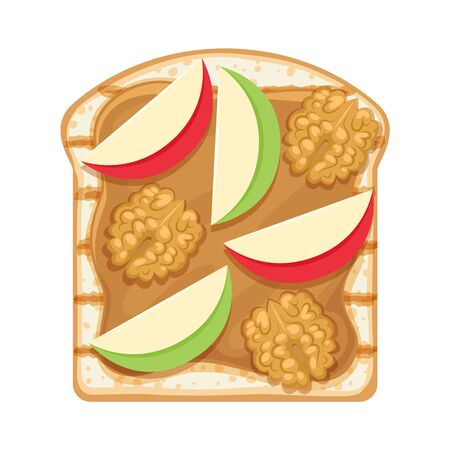 Sweet open sandwich with peanut butter, apple slices and walnut.