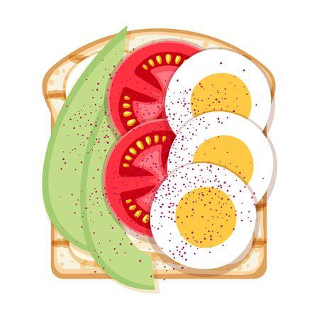 Sandwich ouvert avec œufs, avocat et tomates.