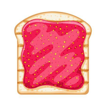 Open sandwich with sweet strawberry jam spread.