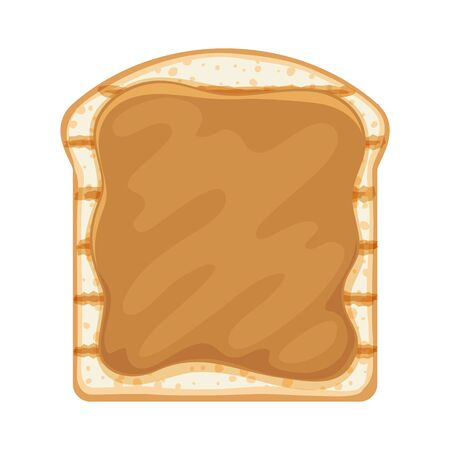 Open sandwich with caramel or peanut butter spread. Breakfast or lunch meal vector illustration.