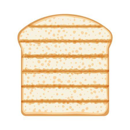 Bread toast isolated vector illustration. Toasted slice. Çizim