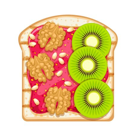 Sweet open sandwich with straberry jam, kiwi slices and walnut.