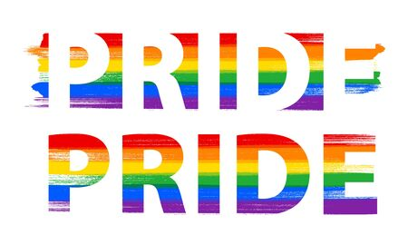 PRIDE lettering in rainbow  flag colors - paint style vector illustration. Stock Illustratie