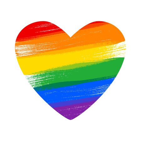Heart in rainbow  flag colors - paint style vector illustration.