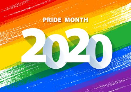 Pride month 2020 poster with rainbow  flag vector background. Stock Illustratie