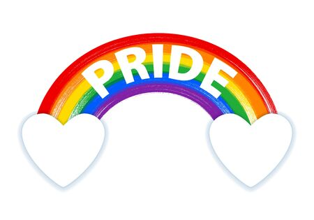 Rainbow with PRIDE lettering in  flag colors - paint style vector. Stock Illustratie