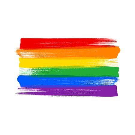 Rainbow  flag - paint style vector illustration. Stock Illustratie