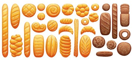Bread icons set. Bakery products vector illustration. Stock Illustratie