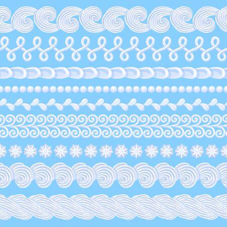 Whipped buttercream cake borders set. Vector seamless pattern. Иллюстрация