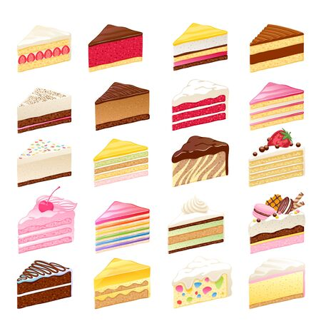 Colorful sweet cakes slices set vector illustration.