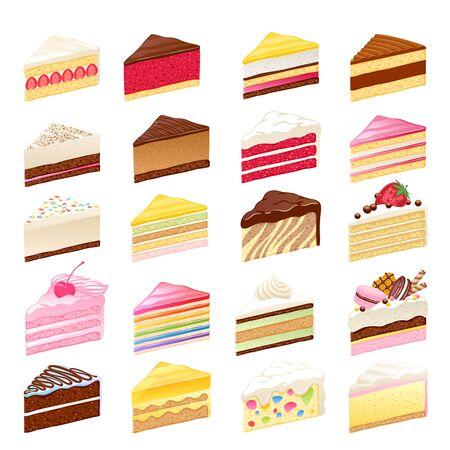Las rebanadas de pasteles dulces coloridos fijaron la ilustración del vector.