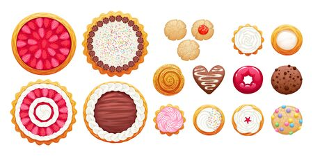 Colorful pies, cakes and cookies icons set.