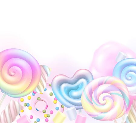 Colorful rainbow lollipops, cotton candy and donut background. Sweets poster design. Фото со стока - 149807871