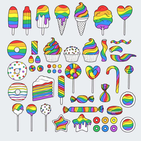 Rainbow sweets set. Assorted candies, cookies and cakes.