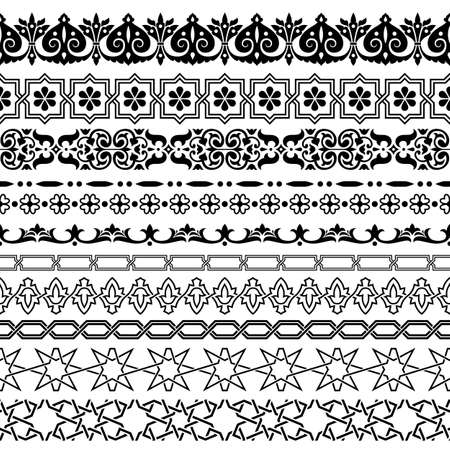 Arabic style seamless ornamental borders vector set. Фото со стока - 151896243