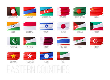 Eastern countries flags set. National symbols illustration.