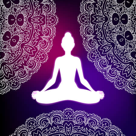 Meditating woman in lotus pose on mandala background. Yoga illustration. Иллюстрация