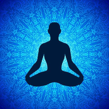 Meditating human in lotus pose on mandala background. Yoga illustration.