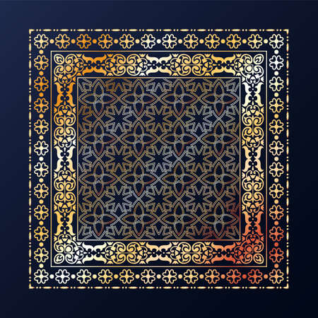 Arabic style golden ornamental vector pattern on black background. Фото со стока - 152724789