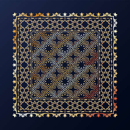 Arabic style golden ornamental vector pattern on black background. Ilustracje wektorowe