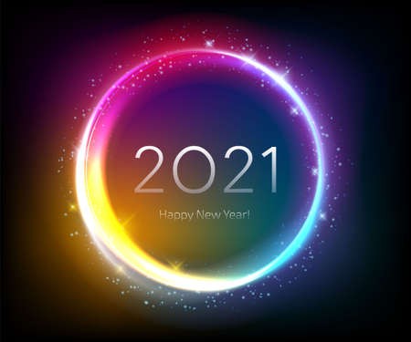 Colorful glow 2021 new year shiny vector illustration. Фото со стока - 157282626