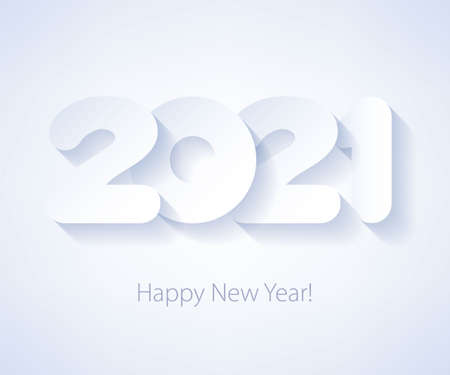 2021 Happy New Year background. Seasonal greeting card template. Фото со стока - 156626357