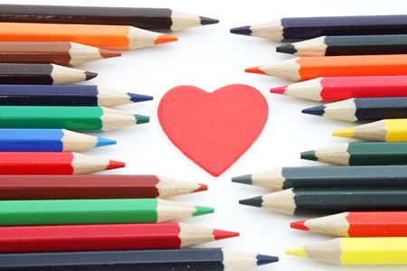 Decorative heart and pencils photo