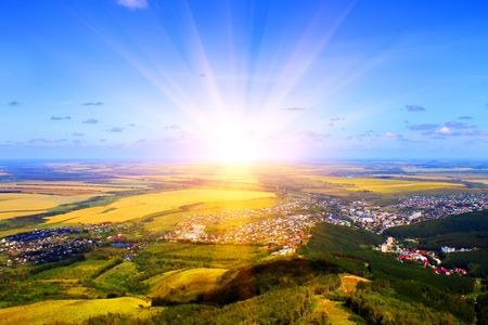 morning noon and night: Sunrise. Mountain View Stock Photo