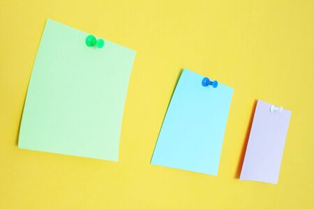 accession: Three stickers on a yellow background Stock Photo