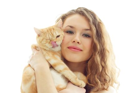 Girl and cat on a white background photo