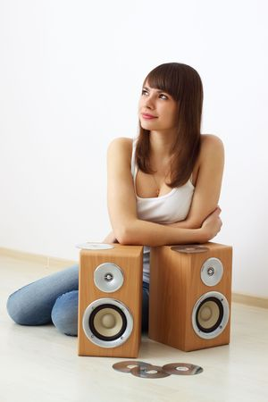 Girl and two acoustic dynamics photo