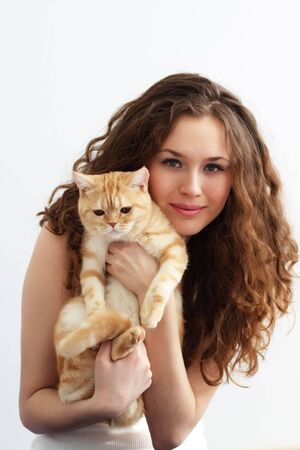 Girl holds a British cat Stock Photo