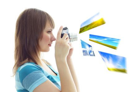 Girl photographs on a white background photo