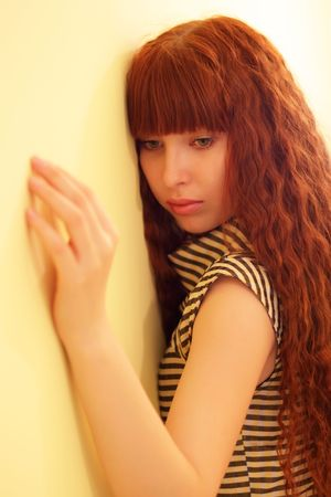 Girl on a yellow background Stock Photo - 6959112