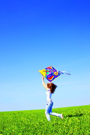 Girl and kite Stock Photo - 7244725