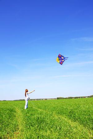 Girl and kite photo