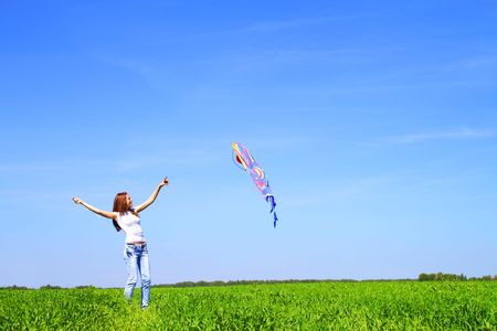 flying kites: Girl with a kite