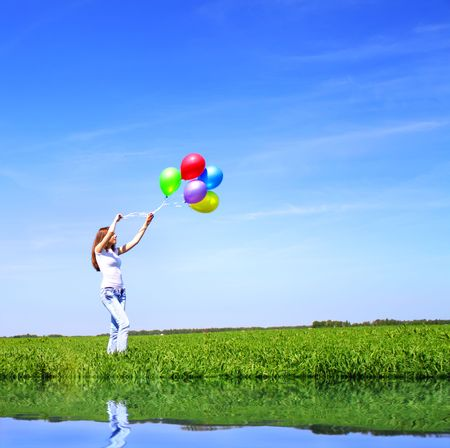 Girl with balloons photo