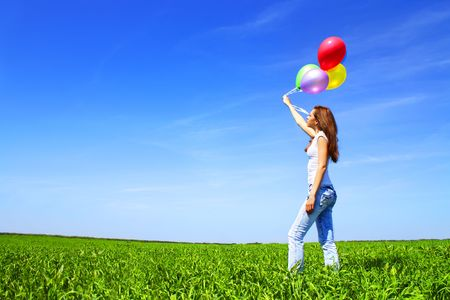 Girl with balloons Stock Photo - 7244732