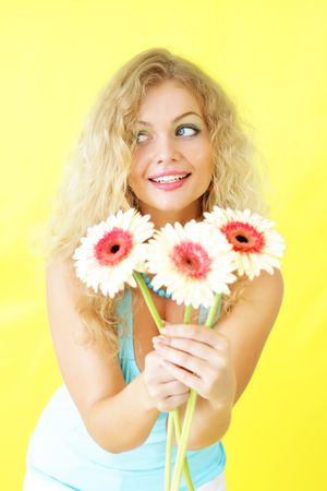 Beautiful girl on a yellow background Stock Photo - 7396137
