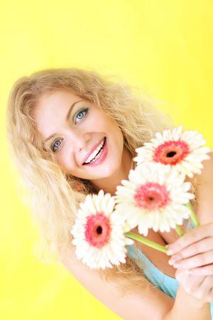 Beautiful girl on a yellow background Stock Photo - 7396459